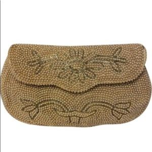 Vintage Bags - Vintage Glass & pearlized Beaded Clutch